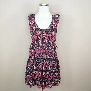 French Connection Pink Bird + Floral Print Dress